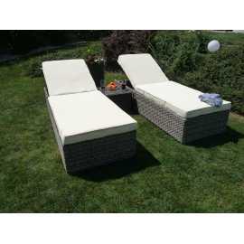 Sunshine rattan napozóágy szett, kerti bútor