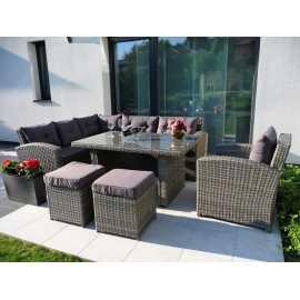 Marbella XXL műrattan kerti étkező garnitúra sarokgarnitúra rattan kerti bútor